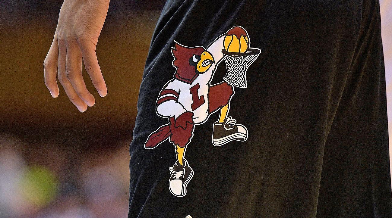 Louisville basketball court logo design dunking Cardinal