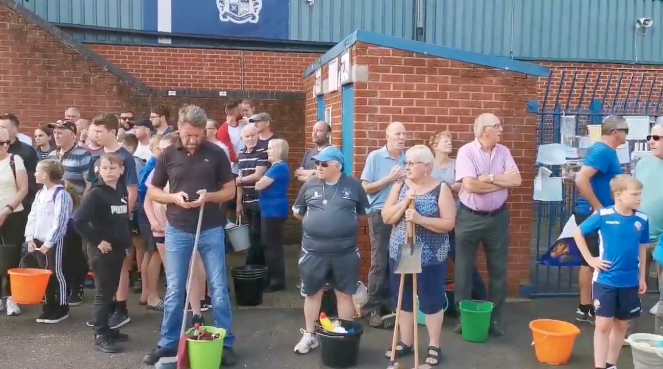 Bury FC: Fans clean stadium to save club from expulsion