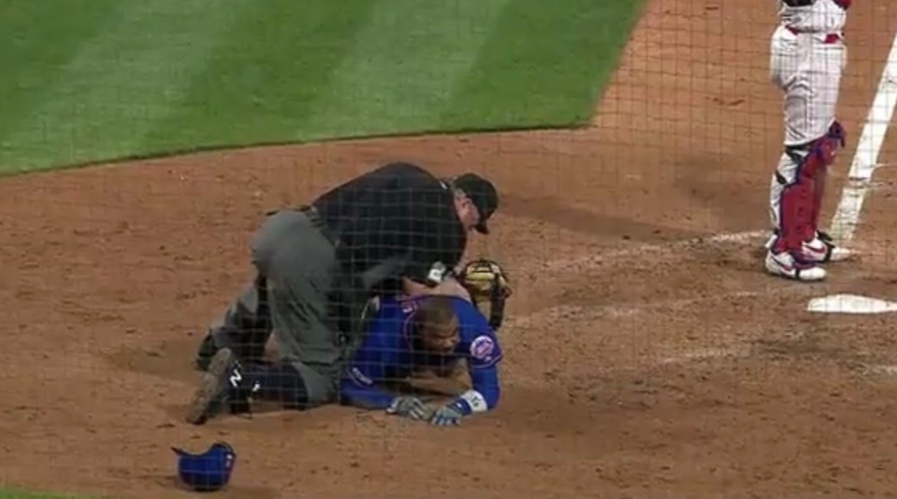 Umpire Joe West Toppled Over By Rajai Davis at Home Plate And It Got Awkward