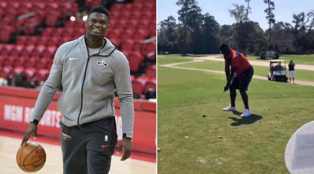 Zion Williamson: Pelicans F breaks golf club (video)