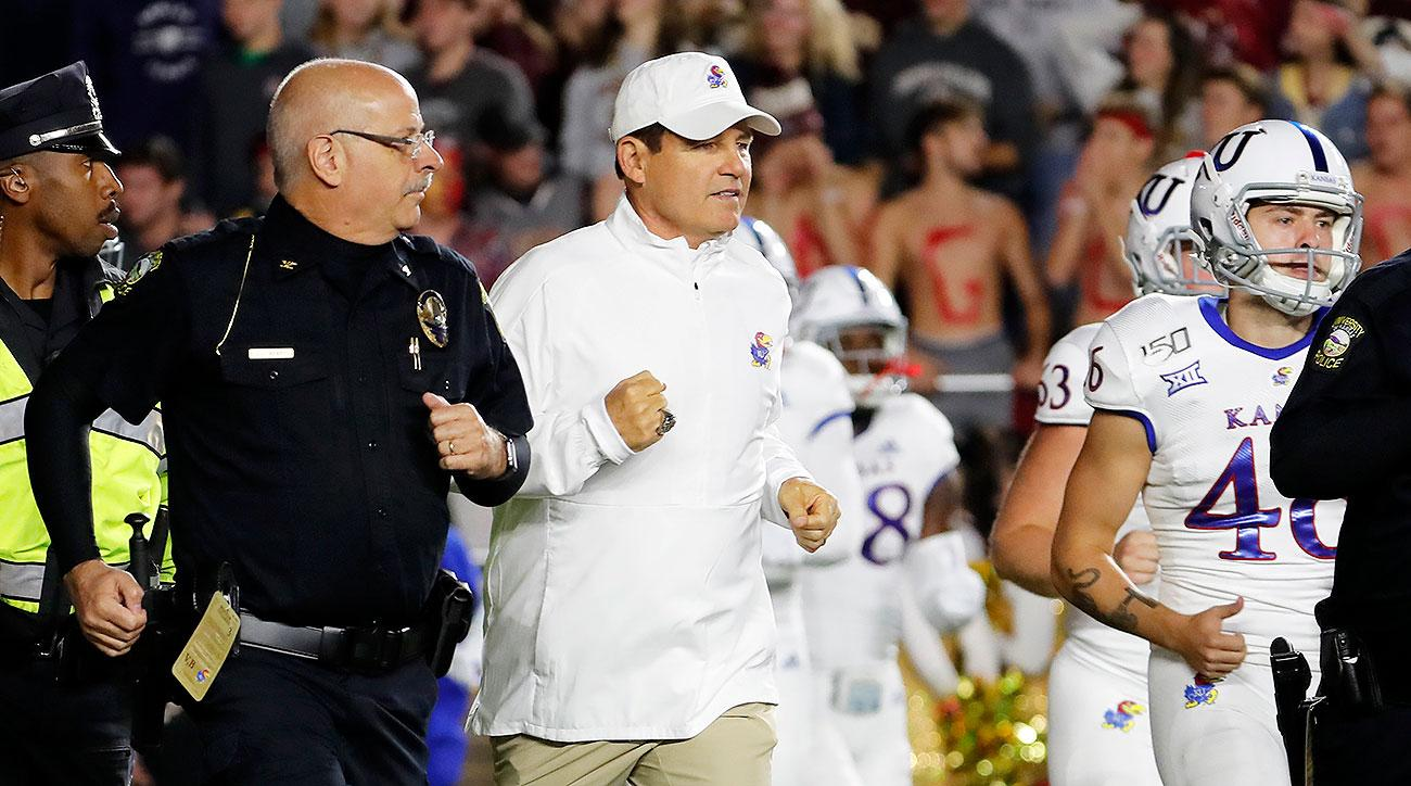 Kansas football Les Miles Boston College upset win spread