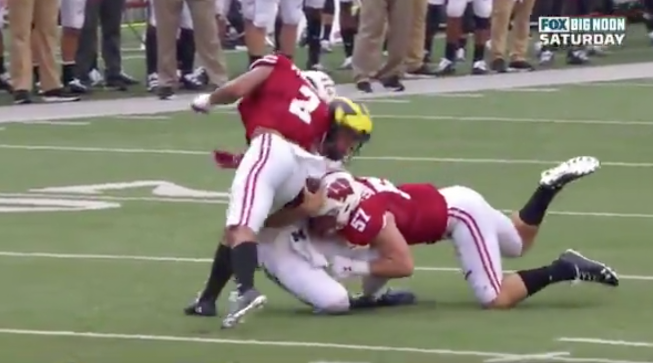 Wisconsin Safety Reggie Pearson Ejected for Brutal Hit on Michigan QB Dylan McCaffrey