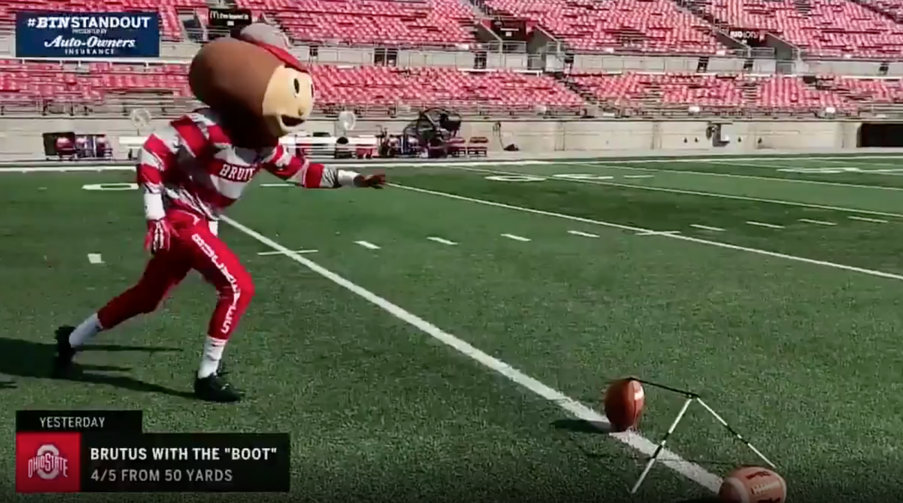 Brutus the Buckeye Nails 50-Yard Field Goal in Full Mascot Uniform