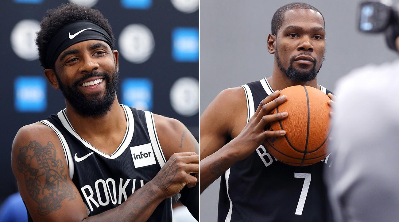 Kyrie Irving and Kevin Durant at Nets Media Day