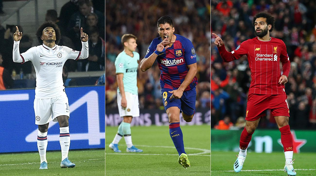Willian, Luis Suarez and Mohamed Salah score in Champions League
