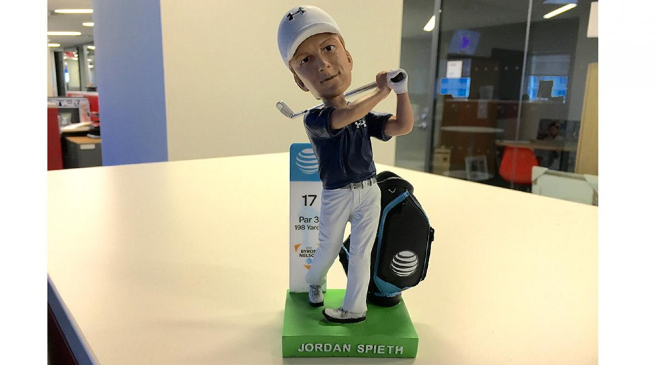 The first 8,000 fans through the gates for Saturday's third round of the AT&T Byron Nelson will receive a Jordan Spieth bobblehead.