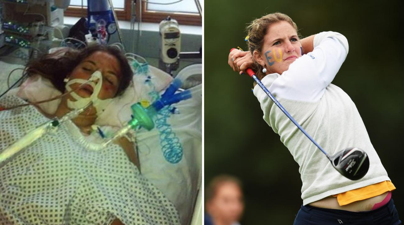 Left, Harm in intensive care after her accident in 2013; right; Harm competing for the European Junior Solheim Cup team in 2015.