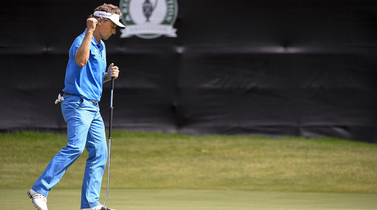 Bernhard Langer reacts after making a birdie putt on the ninth hole during the third round of the PGA TOUR Champions 2016 Regions Tradition.
