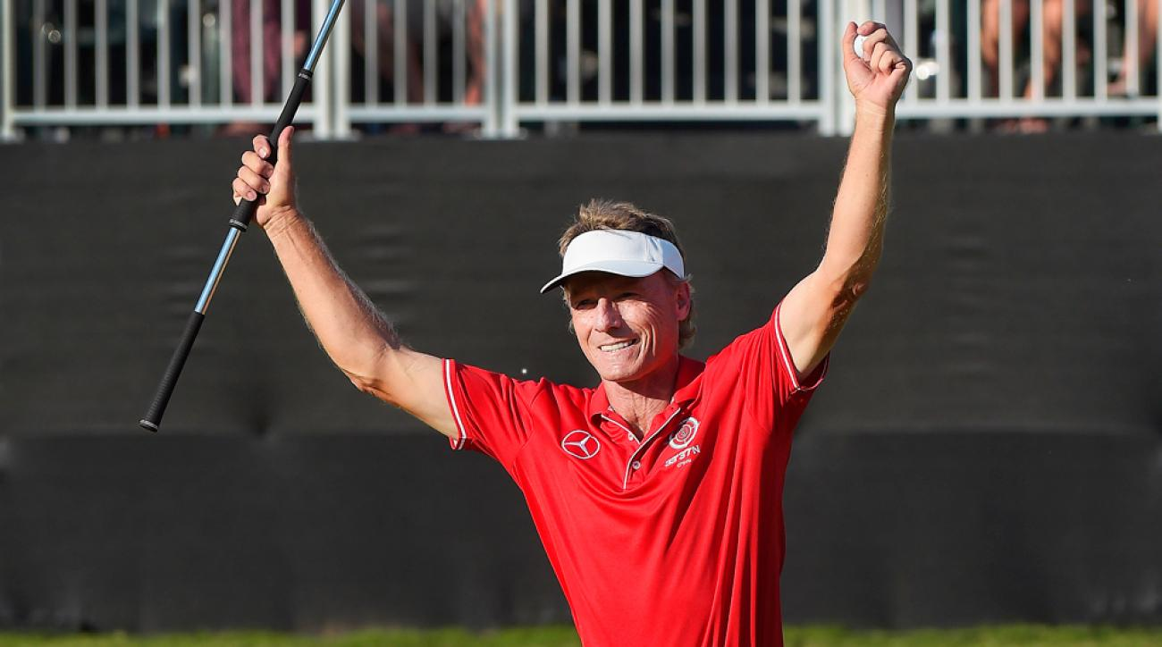 Bernhard Langer celebrates his sixth major win on the Champions Tour.