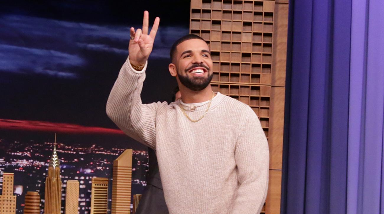 Rapper Drake appears at the Tonight Show with Jimmy Fallon.