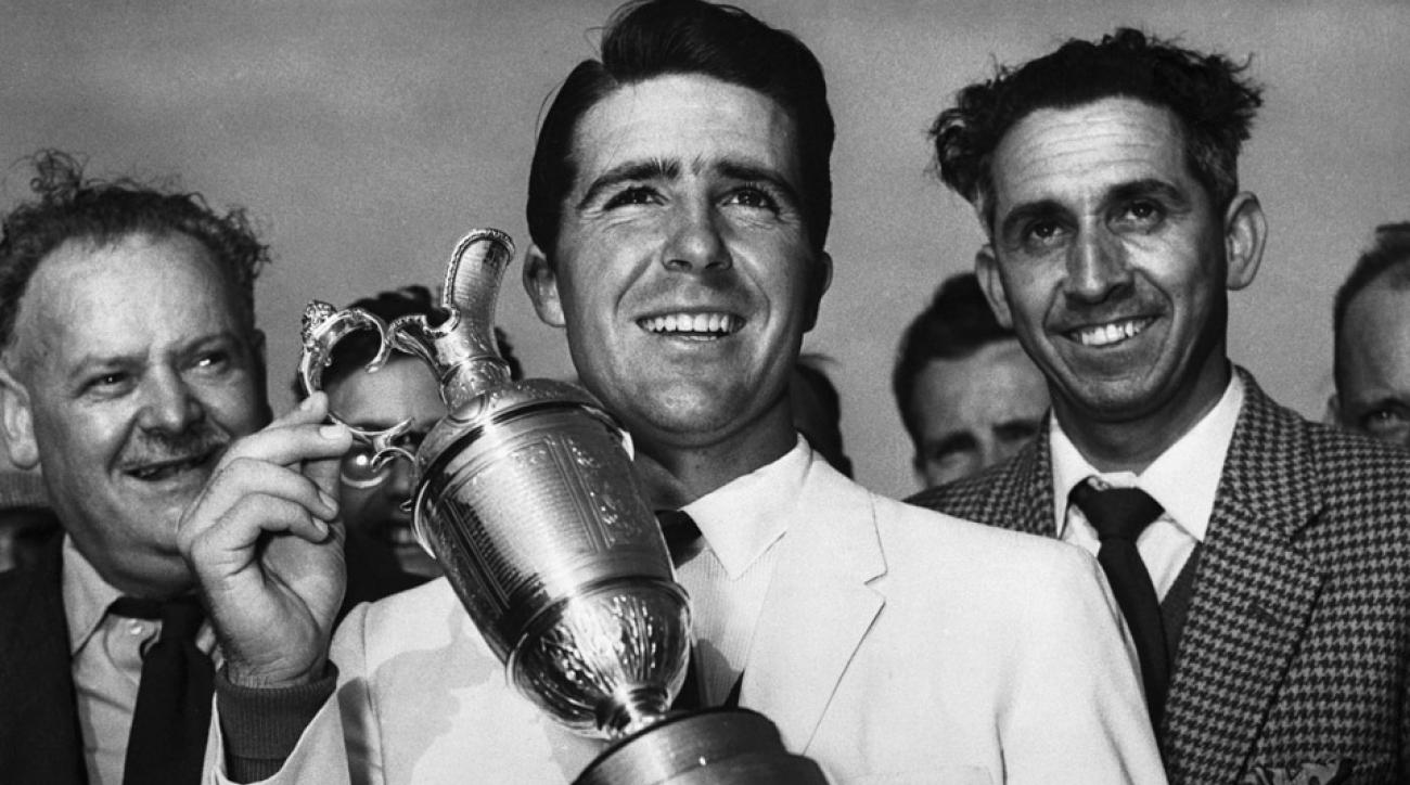 Gary Player smiles with his 1959 British Open trophy.