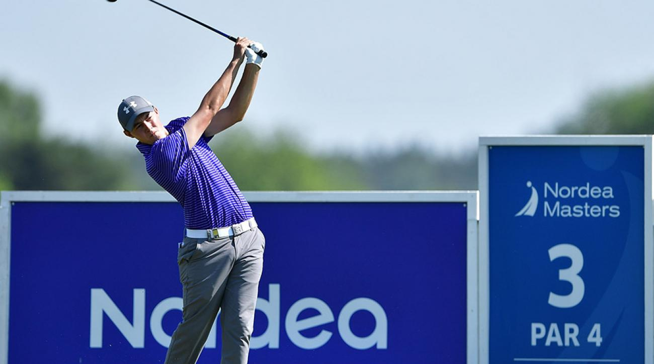 Matthew Fitzpatrick hits his tee shot on the 3rd hole during the second round on day two of the 2016 Nordea Masters at Bro Hof Slott Golf Club.