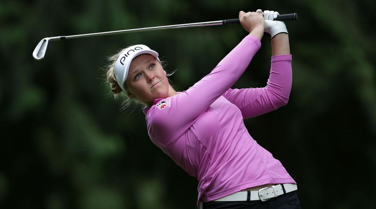 Brooke Henderson tees off on the ninth hole during the second round of the 2016 Women's PGA Championship.