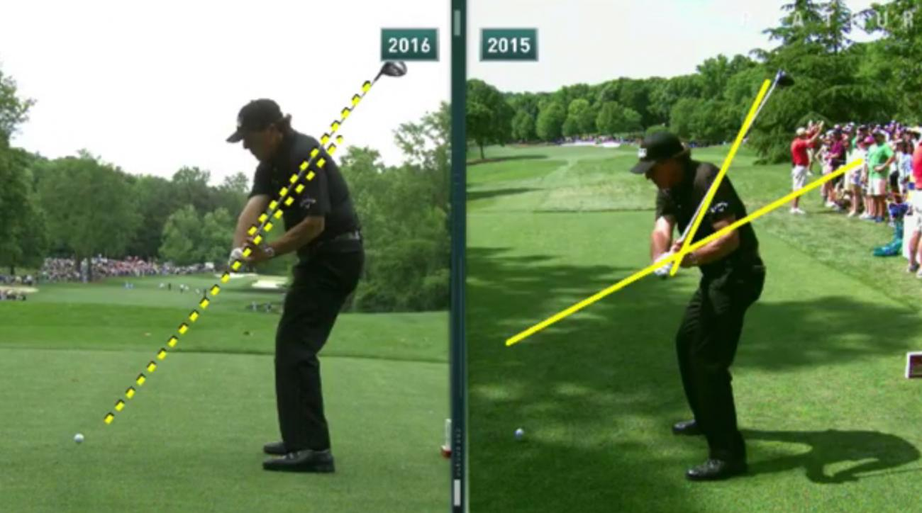 Phil Mickelson's swing once again looks back on plane, one of the biggest indicators for consistent golf swings.