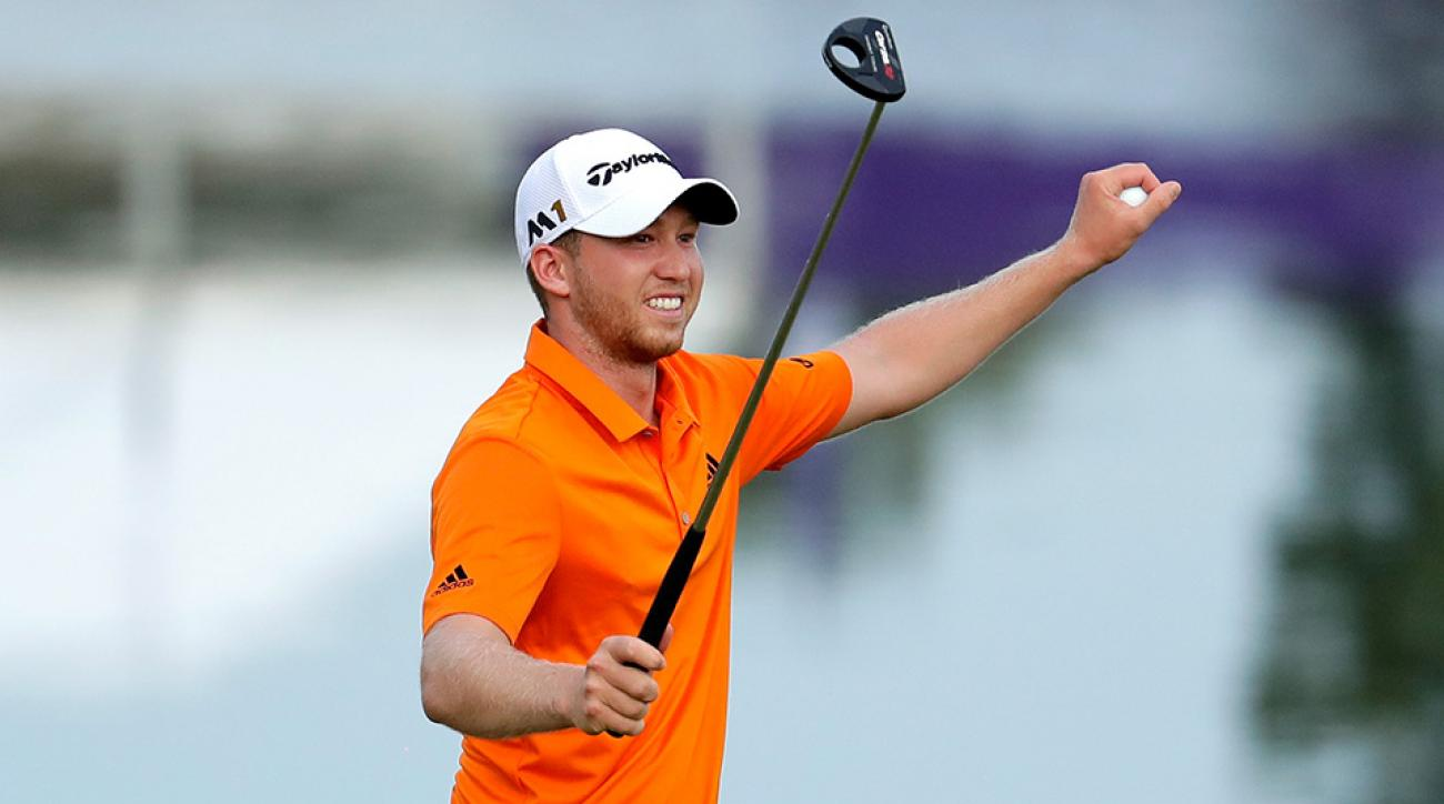 Daniel Berger reacts after winning the FedEx St. Jude Classic during the final round at TPC Southwind on June 12, 2016 in Memphis, Tennessee.
