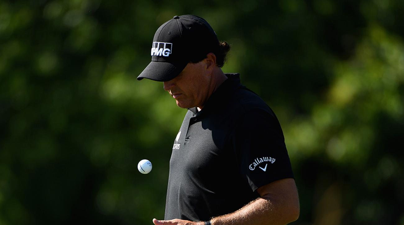 Phil Mickelson waits on the fourth hole during the second round of the 2016 U.S. Open at Oakmont Country Club.