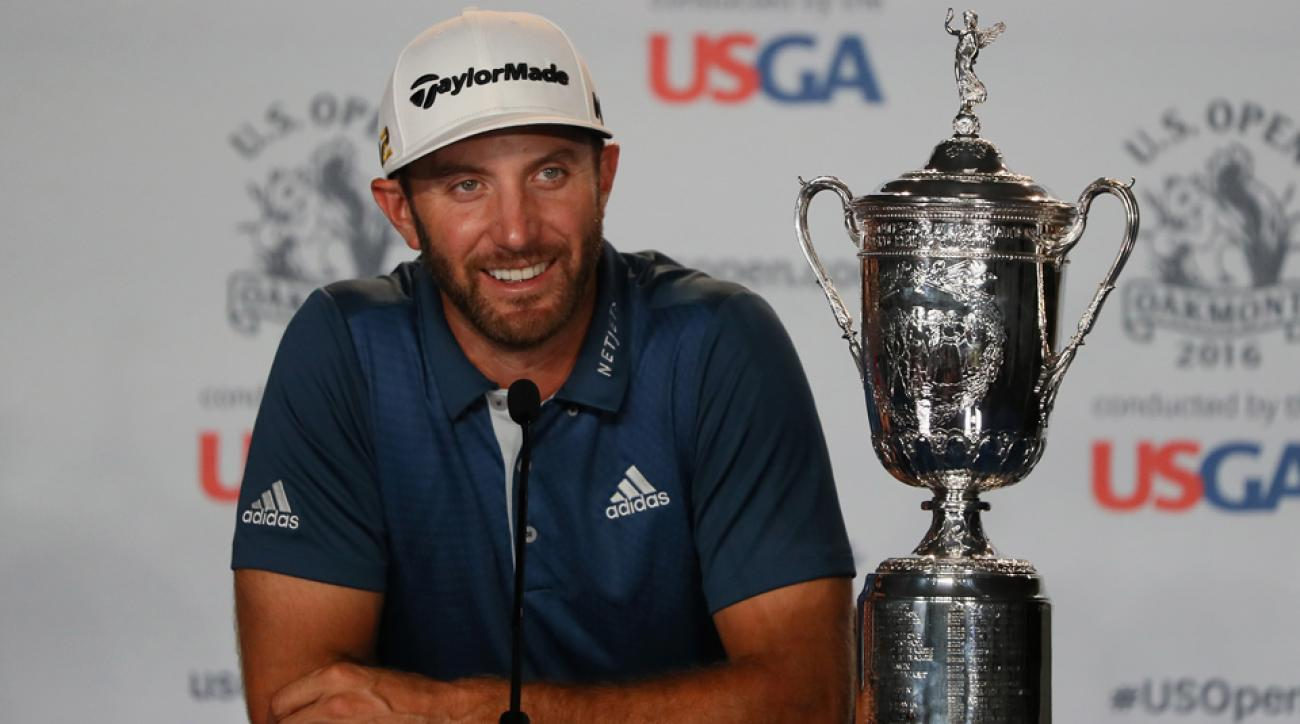 Dustin Johnson speaks after his 2016 U.S. Open victory at Oakmont Country Club Sunday.