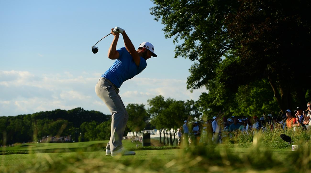 Dustin Johnson winds up on the tee during Round 2 of the 2016 U.S. Open