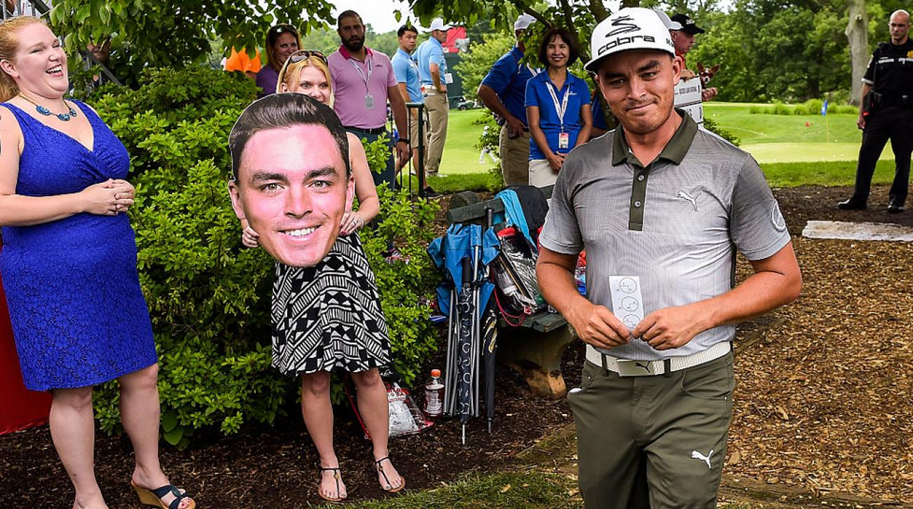 Rickie Fowler's cardboard mug made its way near the real Fowler himself, despite not getting the best rating from the golfer.
