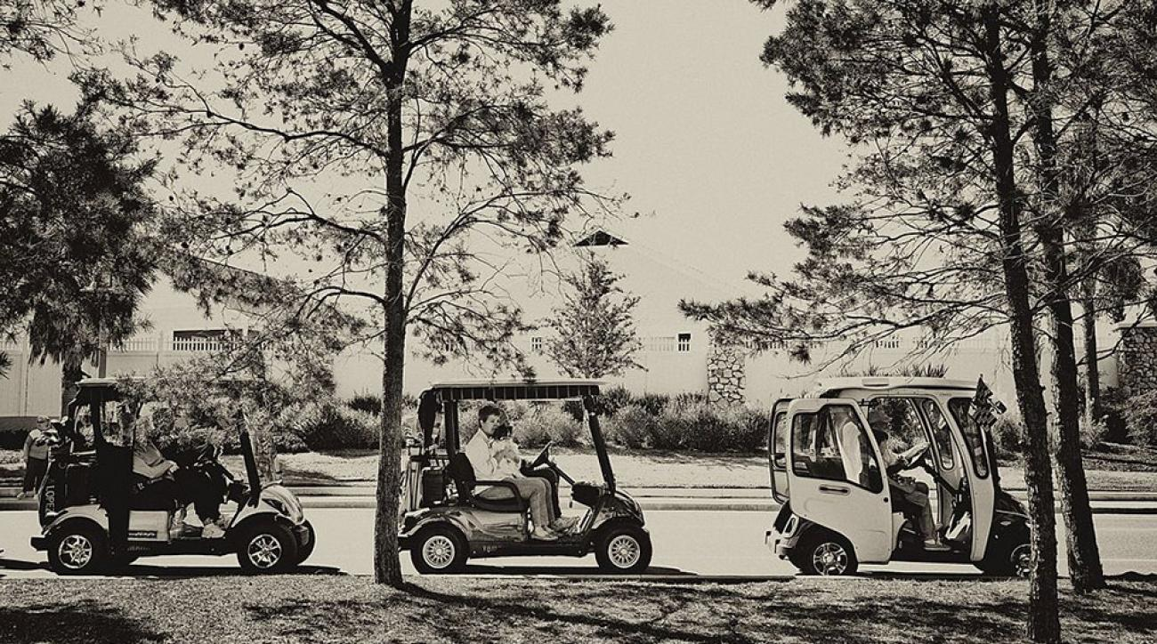 Golf carts are a popular way to get around in the Villages in Florida.