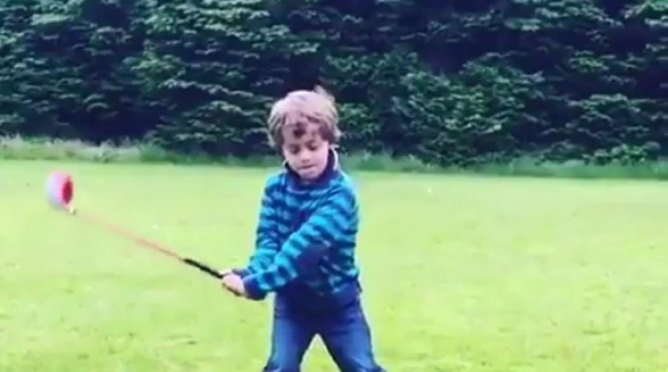 This six-year-old's golf swing is already pretty impressive.