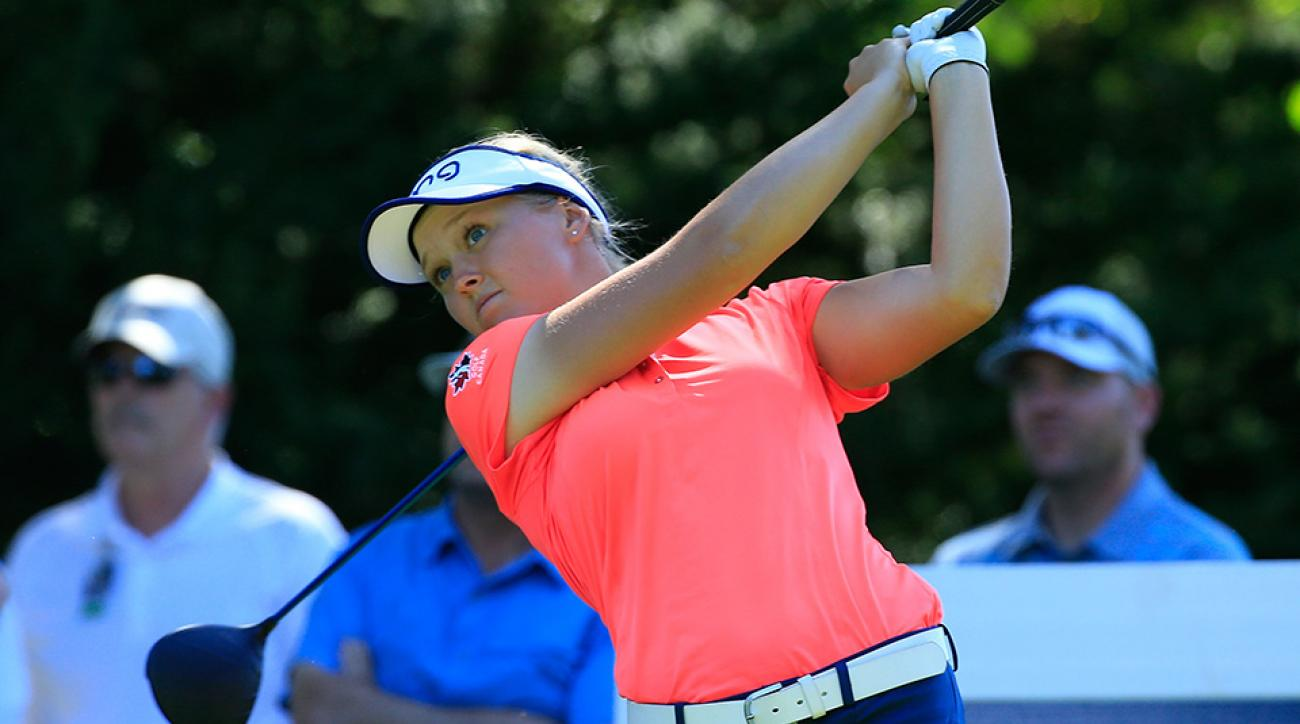 Brooke M. Henderson of Canada hits her drive on the 12th hole during the second round of the 2016 Cambia Portland Classic.