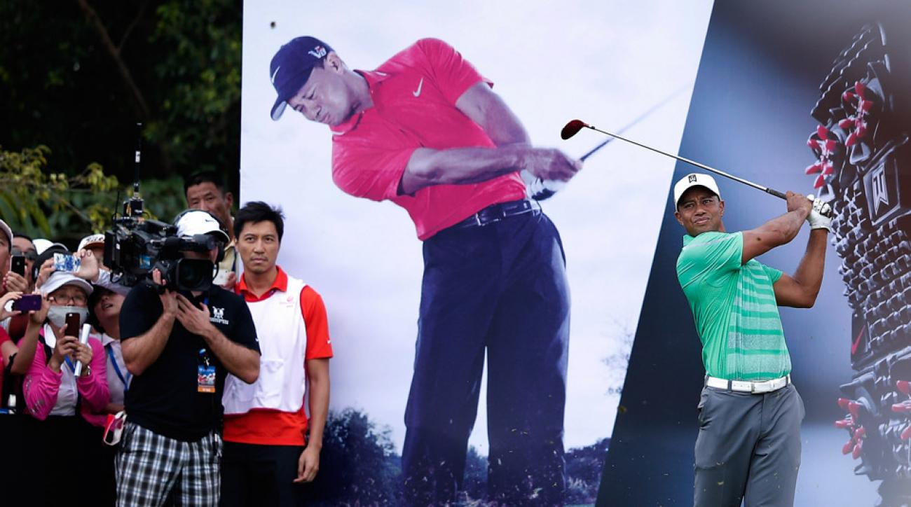 Tiger Woods during an exhibition match with Rory McIlroy in China in 2013.