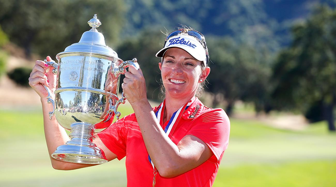 Brittany Lang poses with the trophy on the 18th green after defeating Anna Nordqvist of Sweden in a three hole playoff to win the 2016 U.S. Women's Open at CordeValle.