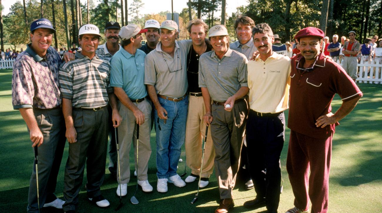From left, Peter Jacobsen, Fred Couples, Gary McCord, Jerry Pate, Bruce Lietzke, Shelton, Kevin Costner, Don Johnson, Tommy Armour III, Corey Pavin and Cheech Marin. Other Tour vets on the set were Craig Stadler, Lee Janzen and Phil Mickelson.