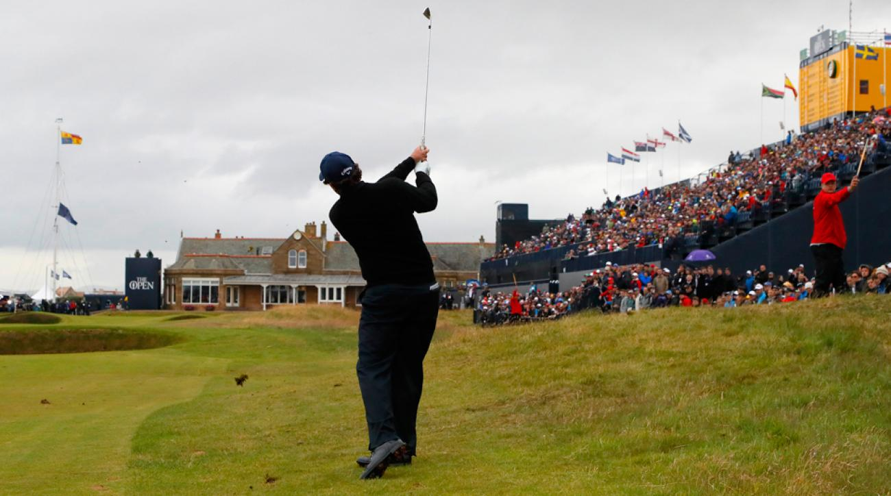 Camera clicks on this shot by Phil Mickelson into 18 at Royal Troon had Lefty chastising the photographers nearby.