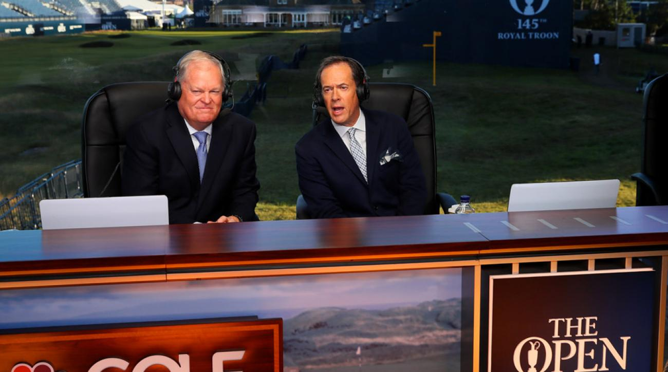 Johnny Miller (left) on NBC's set at Royal Troon this week.