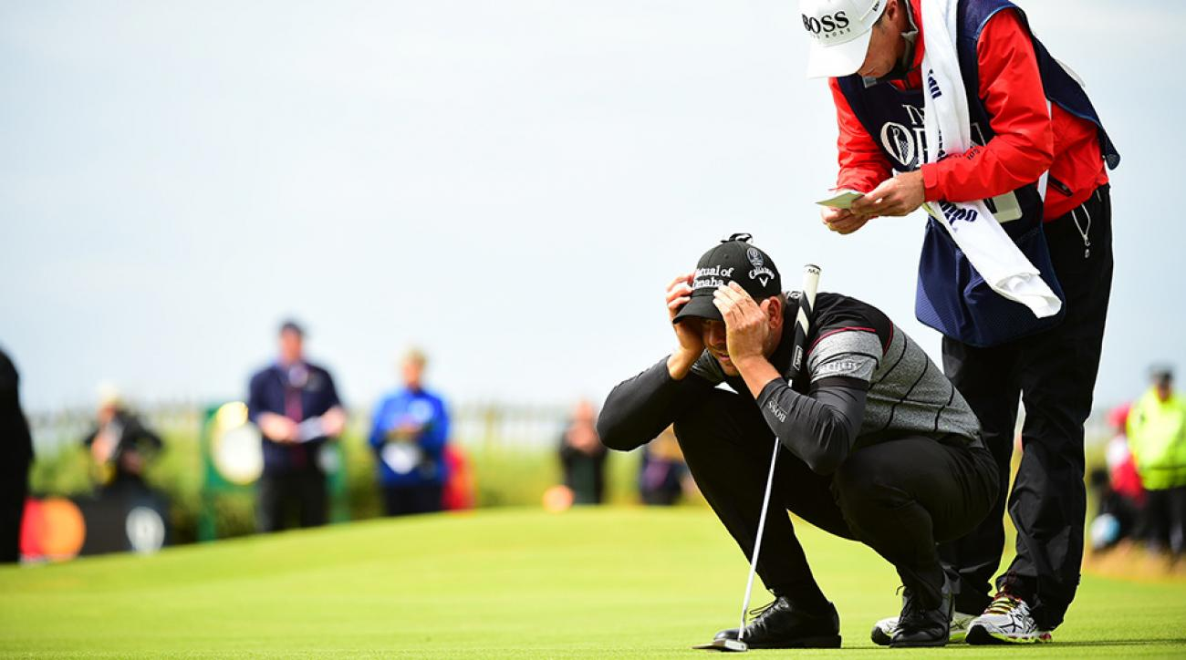 Henrik Stenson putts during the final round of the 2016 Open Championship at Royal Troon.