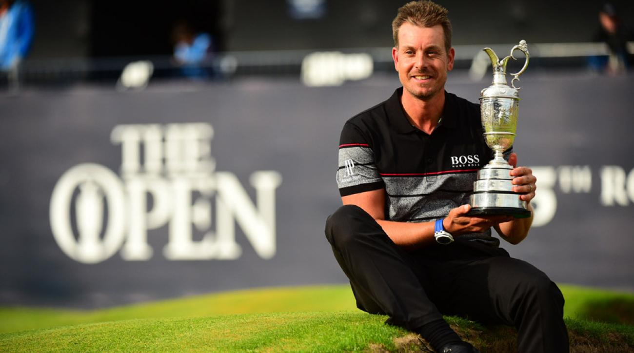 Henrik Stenson holds the claret jug after his British Open victory.