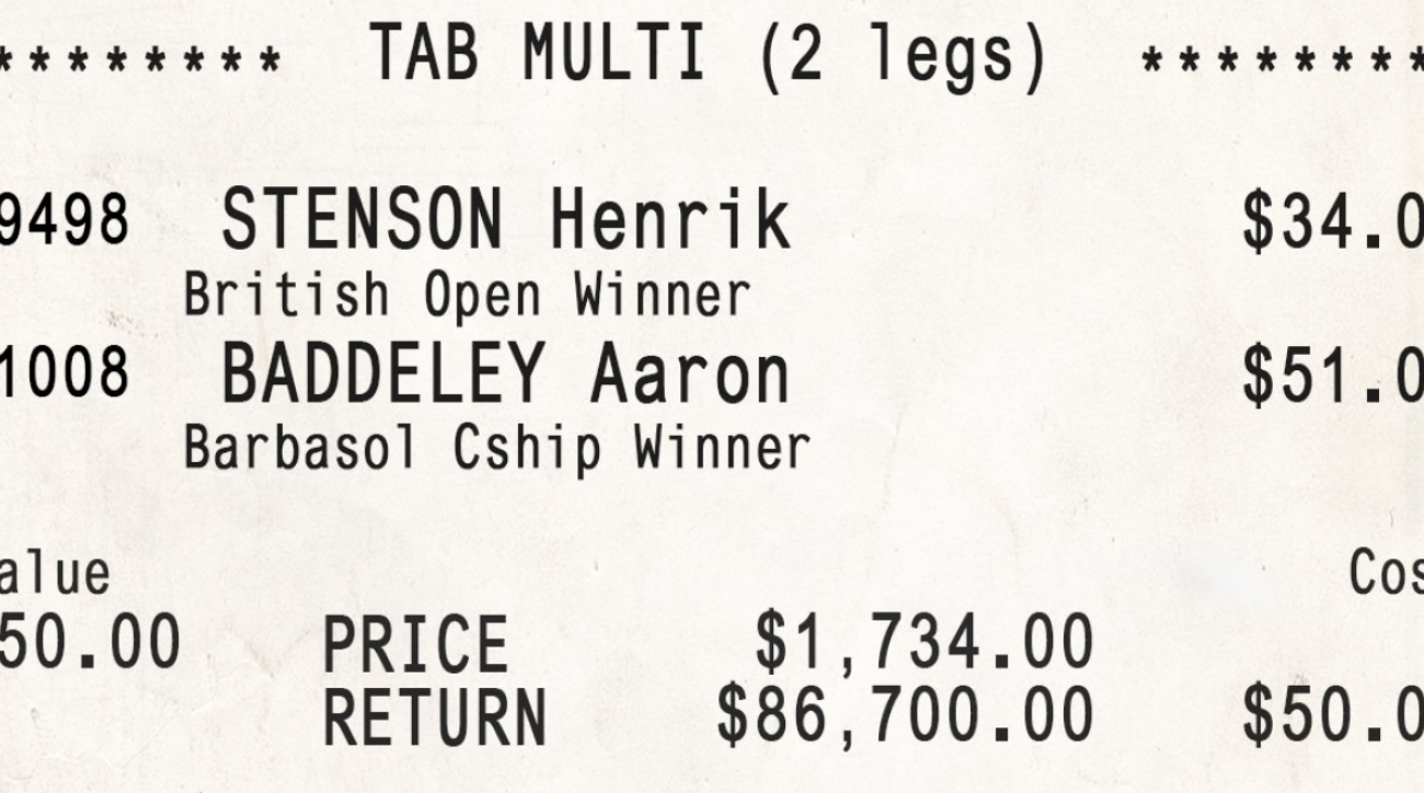 Parlaying two relatively unlikely golf results into one bet paid of big time for one Australian bettor.