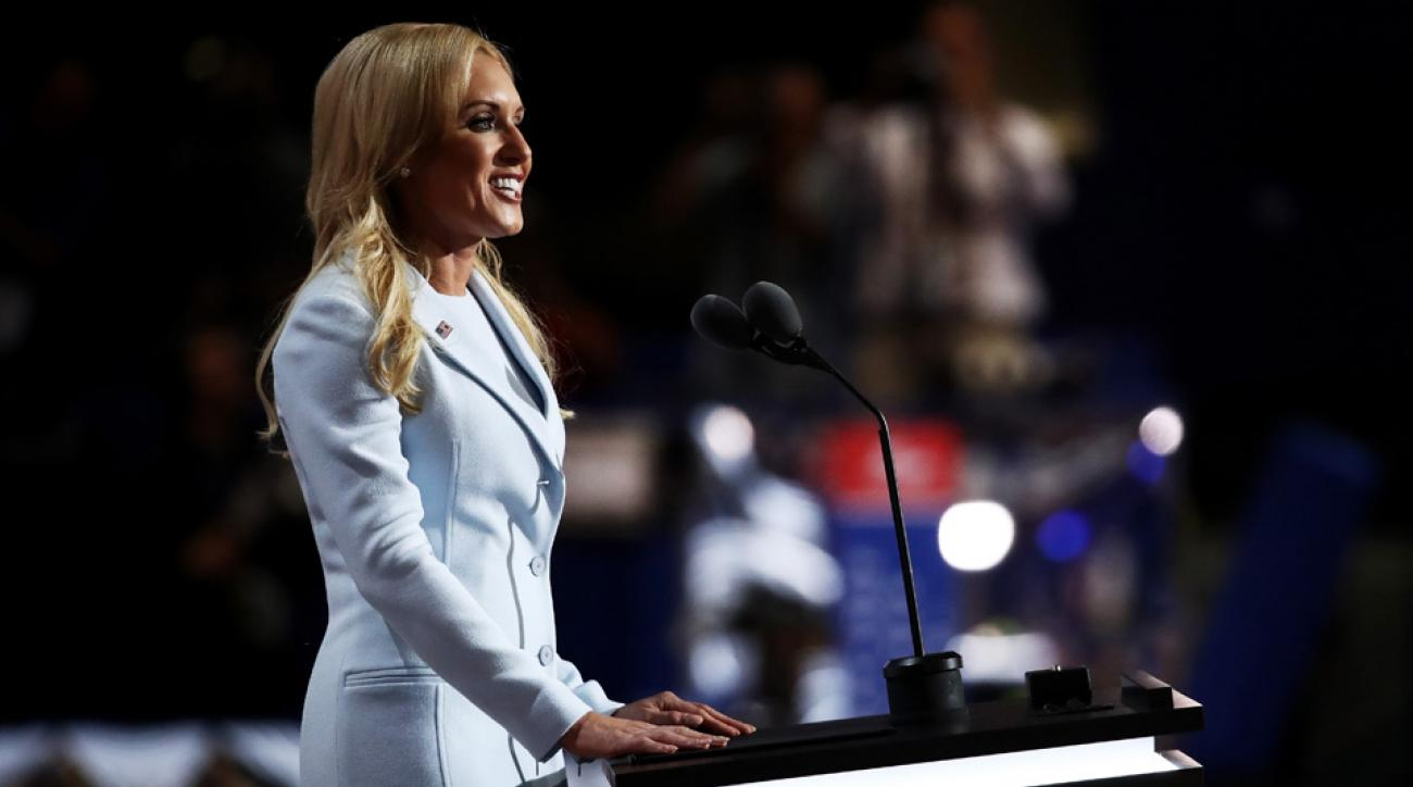 Natalie Gulbis delivers a speech on the second day of the Republican National Convention on July 19, 2016.