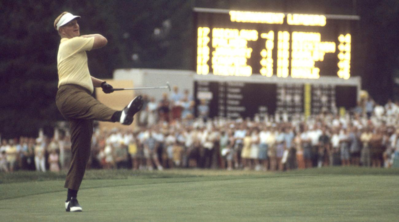 Jack Nicklaus celebrates after winning the 1967 U.S. Open at Baltusrol.