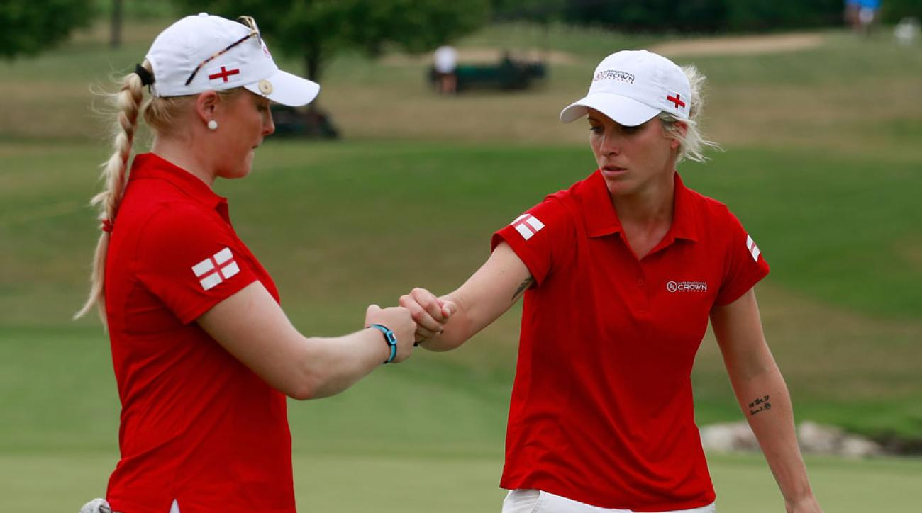 Charley Hull and Melissa Reid of England teamed up to defeat Ariya and Moriya Jutanugarn of Thailand on Saturday.