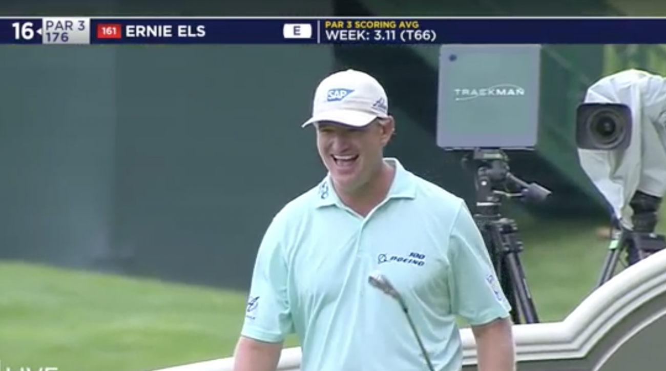 Ernie Els celebrates his hole-in-one on Saturday at the Travelers Championship.