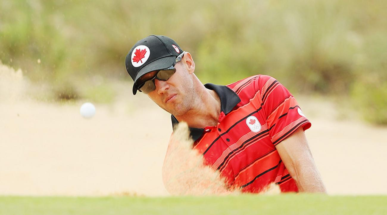 Graham DeLaet of Canada plays a bunker shot during a practice round during Day 3 of the Rio 2016 Olympic Games.