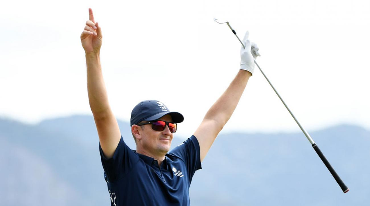 Justin Rose celebrates his ace—the first in Olympic history.