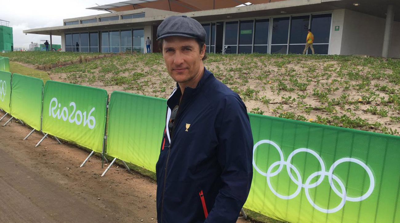Matthew McConaughey taking in round 2 of the golf competition at the Olympics.