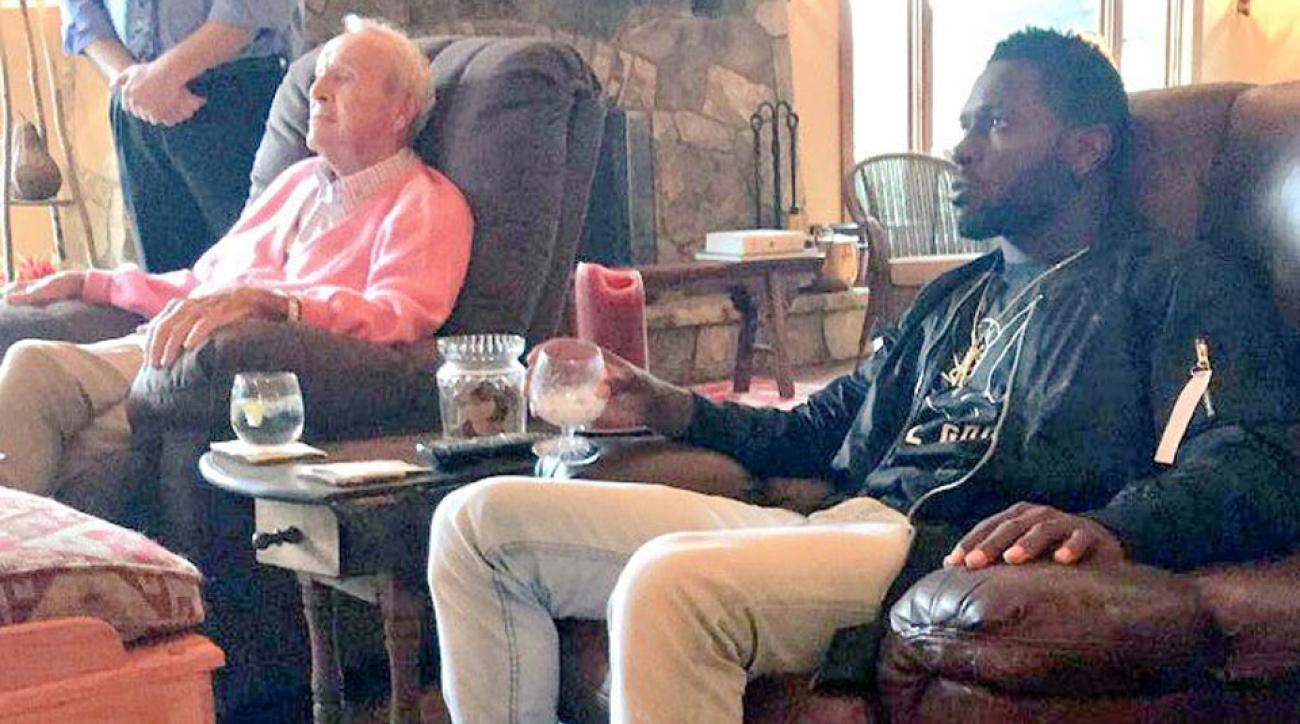 Arnold Palmer and Antonio Brown relax at Latrobe Country Club outside Pittsburgh in August.