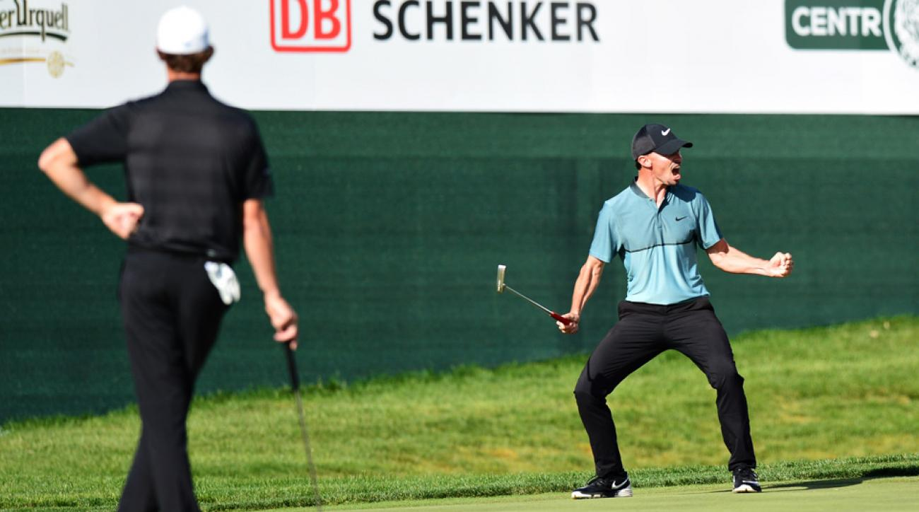 Paul Peterson celebrates after holing his putt on the 18th to win the Czech Masters at Albatross Golf Resort on Aug. 21, 2016.