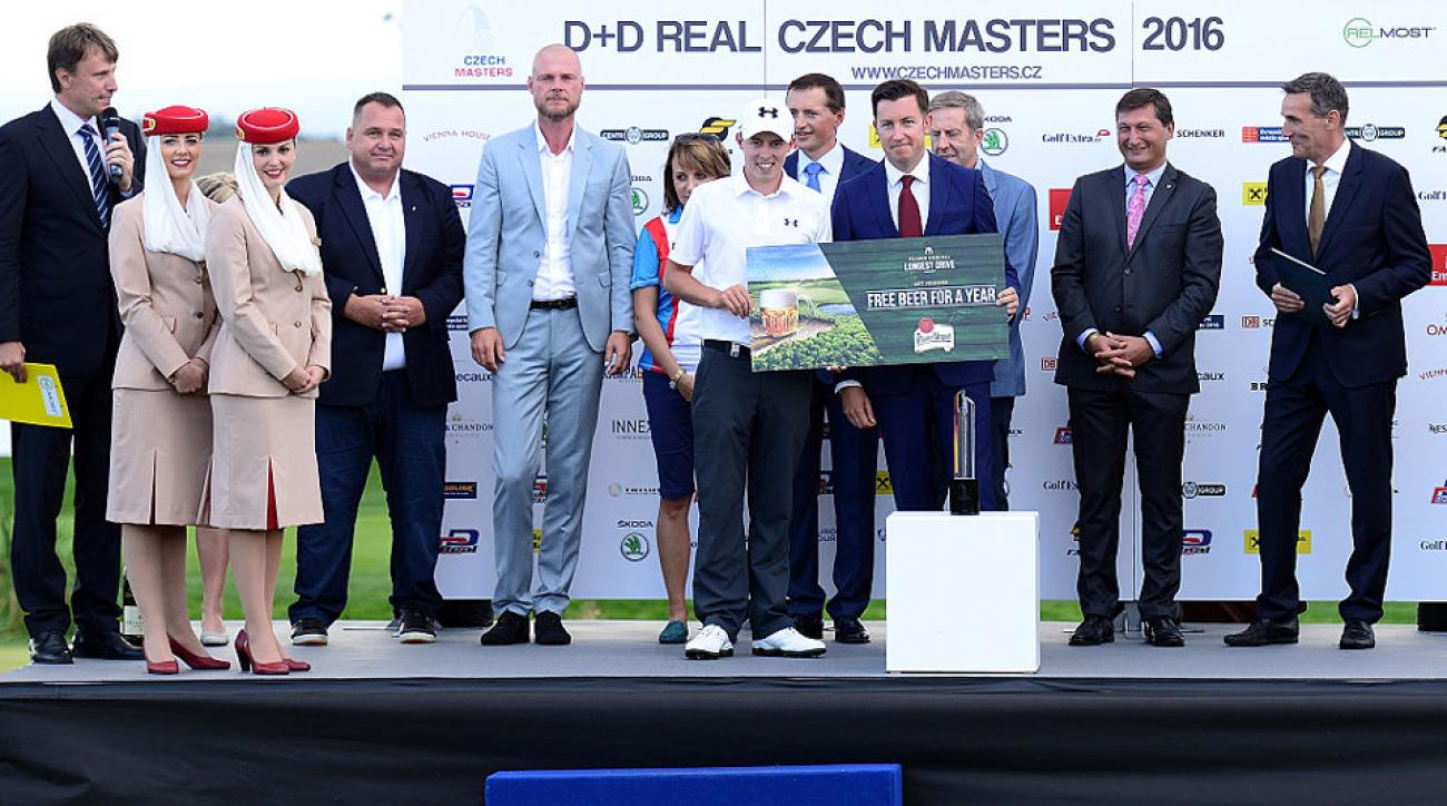 Matthew Fitzpatrick's shot that won the long drive competition at the Czech Masters traveled 330 yards into the fairway.