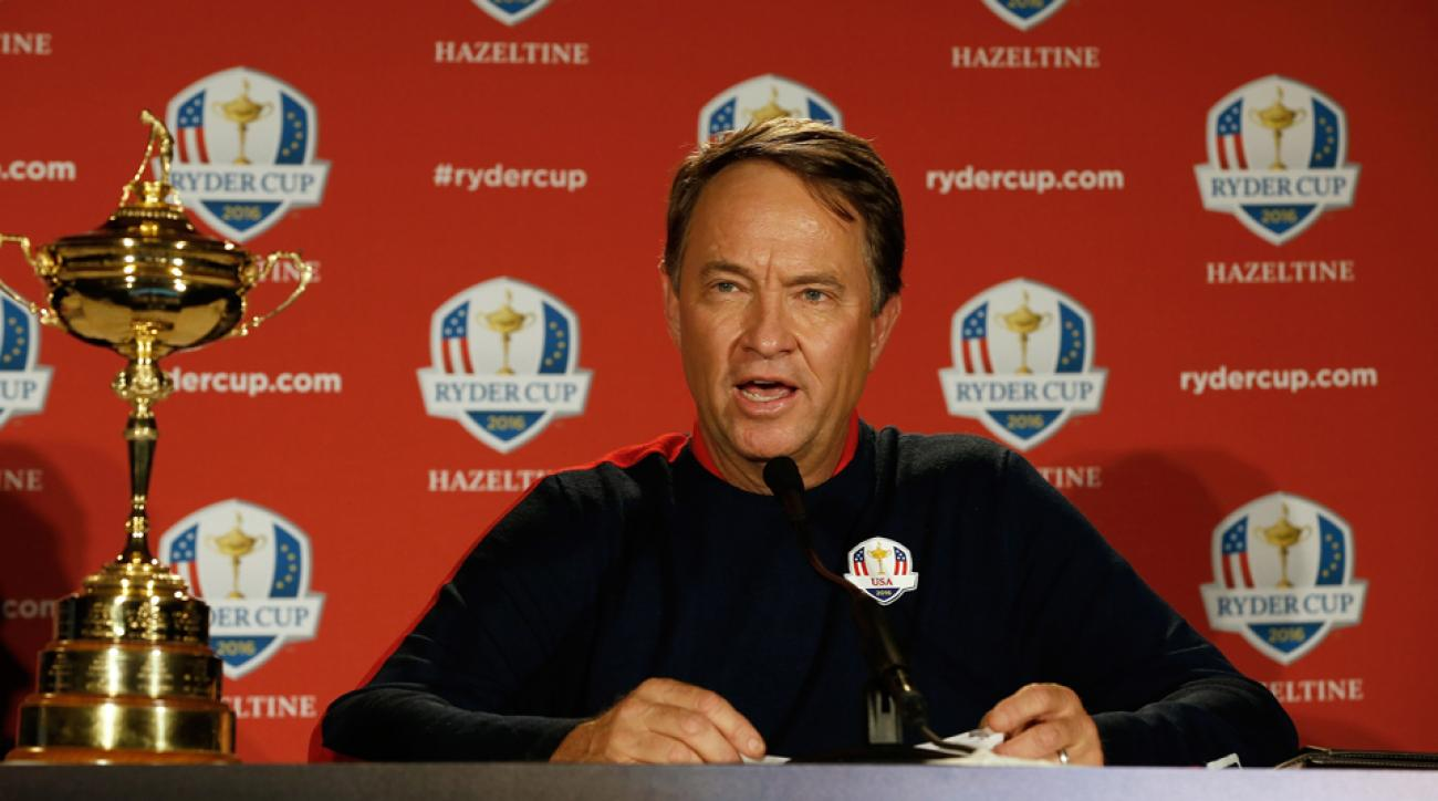 Team USA Ryder Cup Captain Davis Love III addresses the media during a press conference Monday morning.