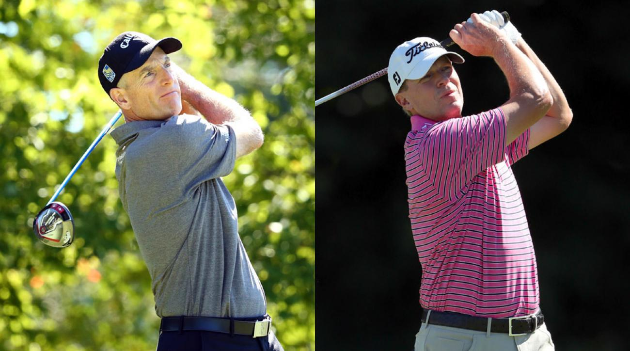 Jim Furyk (left) and Steve Stricker on Friday at the 2016 Deutsche Bank Championship.