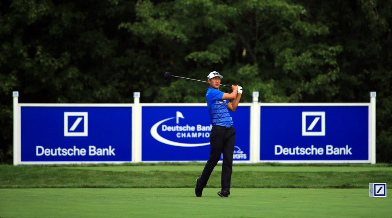 James Hahn is tied for the lead after the first round at the Deutsche Bank Championship.