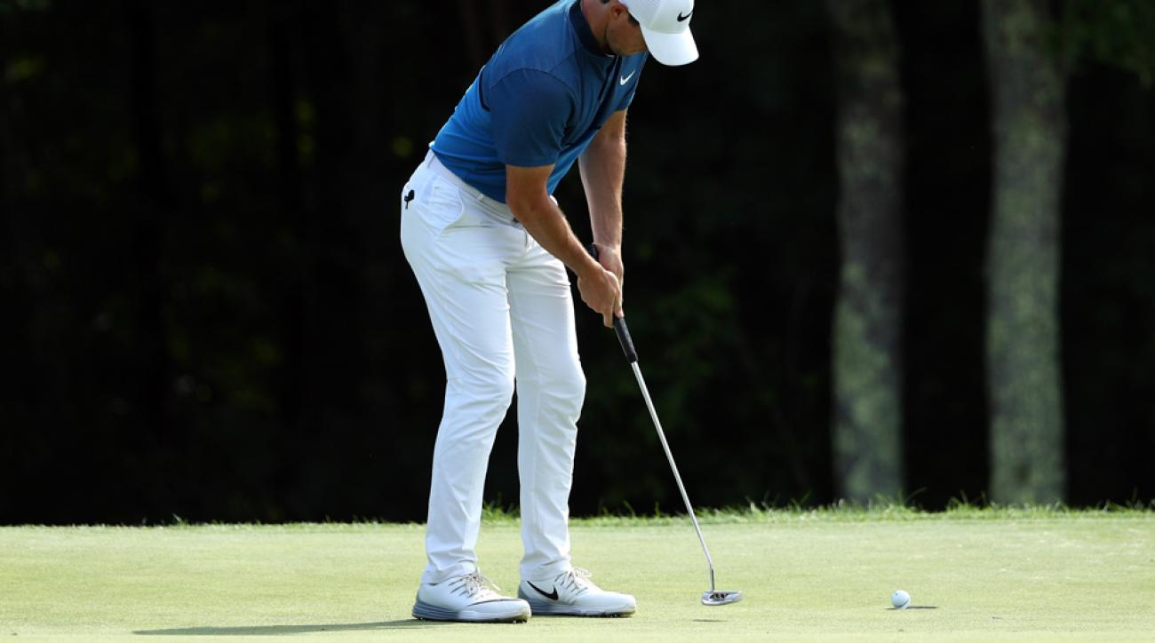 Rory McIlroy made 114 feet of putts during his second round of the Deutsche Bank Championship Saturday.