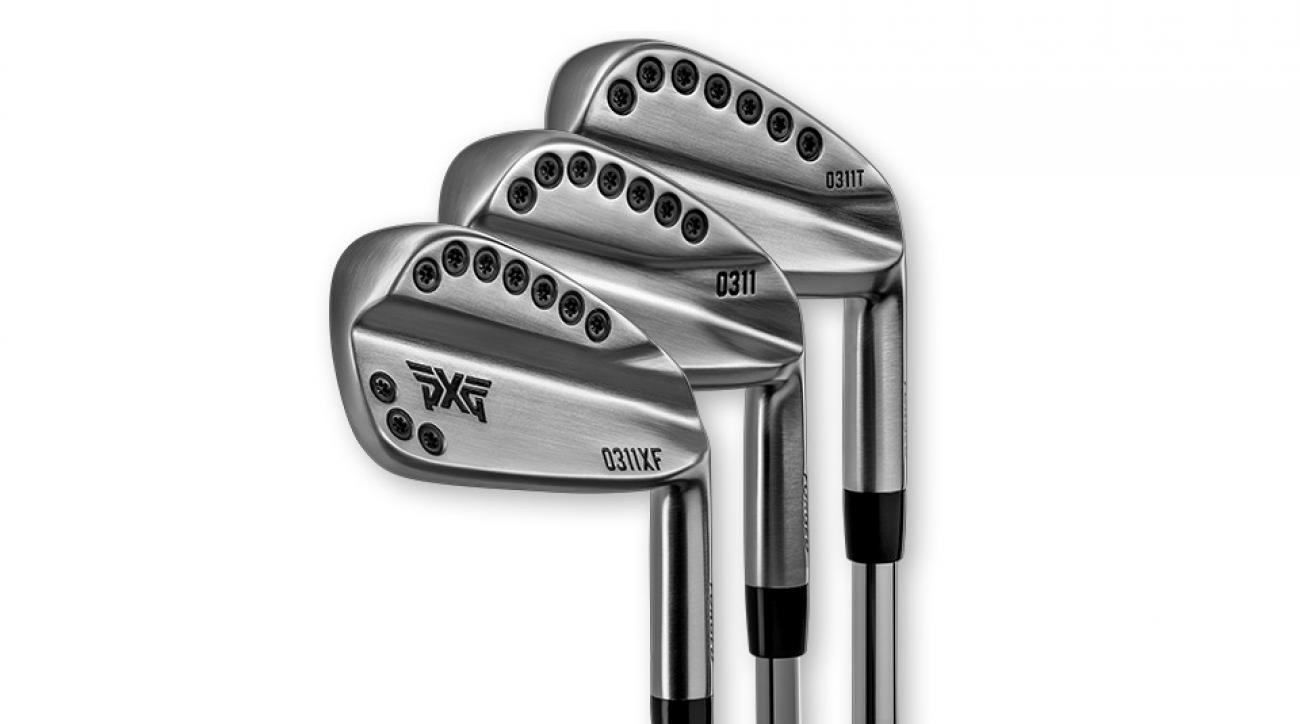 The new PXG 0311XF irons (foreground) with PXG's existing 0311 and 0311T models.
