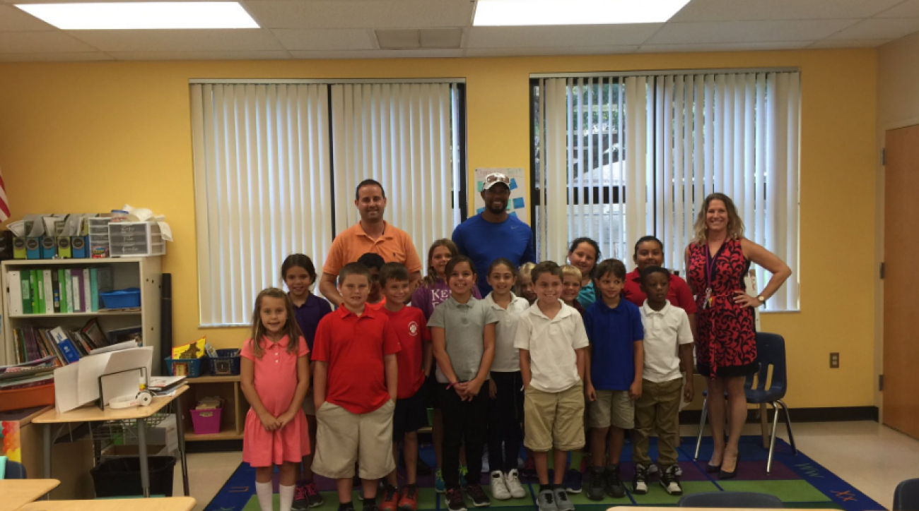 Tiger Woods took part in a Career Day at Limestone Creek Elementary School in Jupiter, Florida.